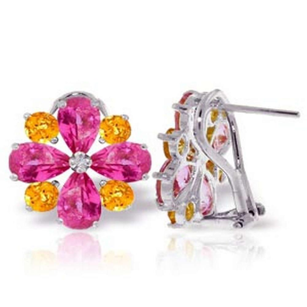4.85 Carat 14K Solid White Gold French Clips Earrings Pink Topaz Citrine