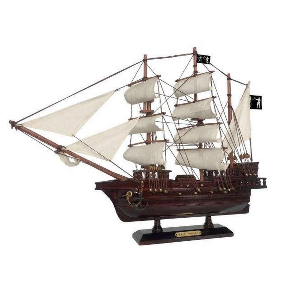 Wooden Black Barts Royal Fortune White Sails Pirate Ship Model 20in.