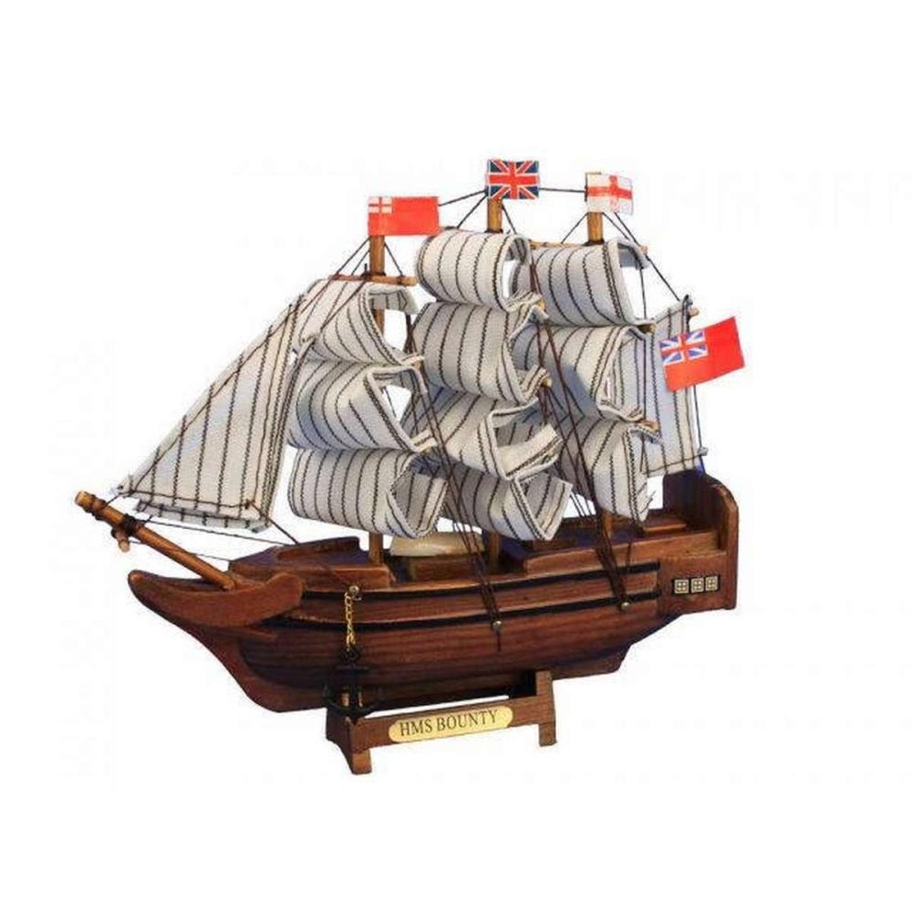 Wooden HMS Bounty Tall Model Ship 7in.