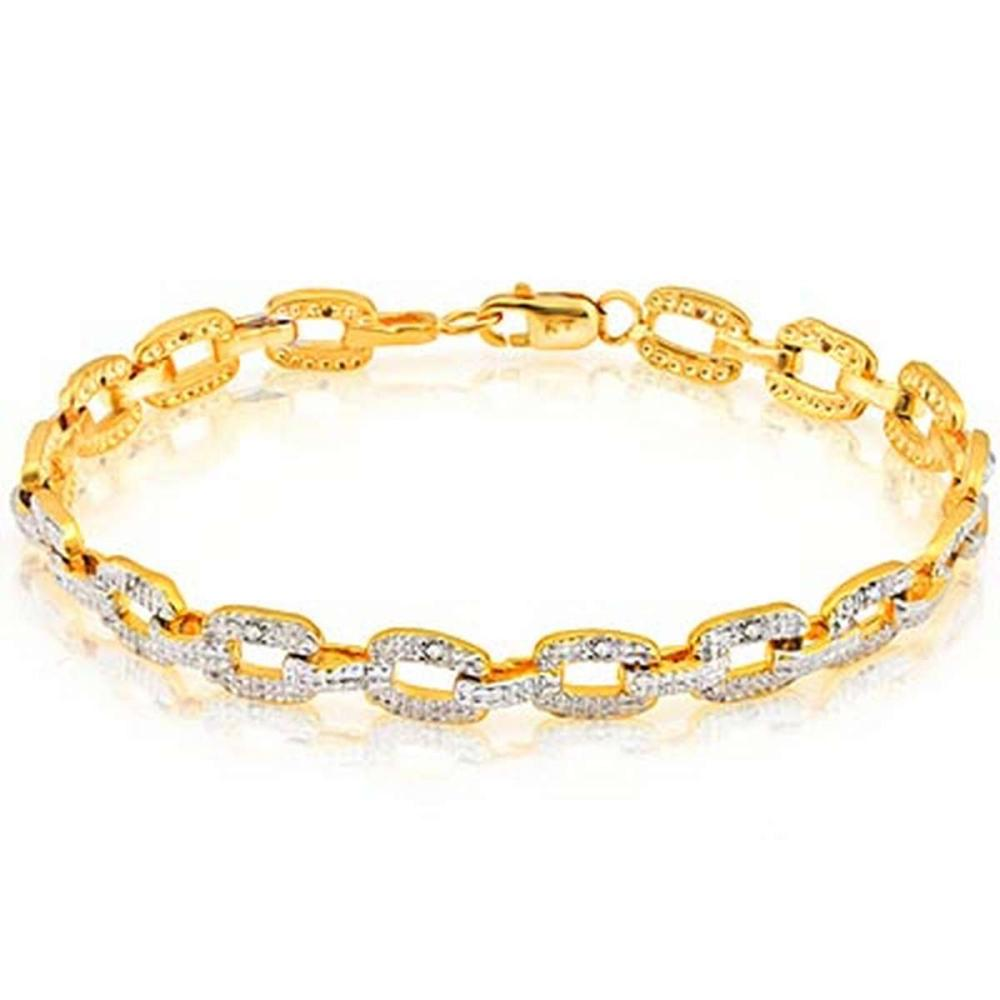 14K Yellow Gold Plated 0.072 Carat Genuine White Diamond .925 Sterling Silver Bracelet