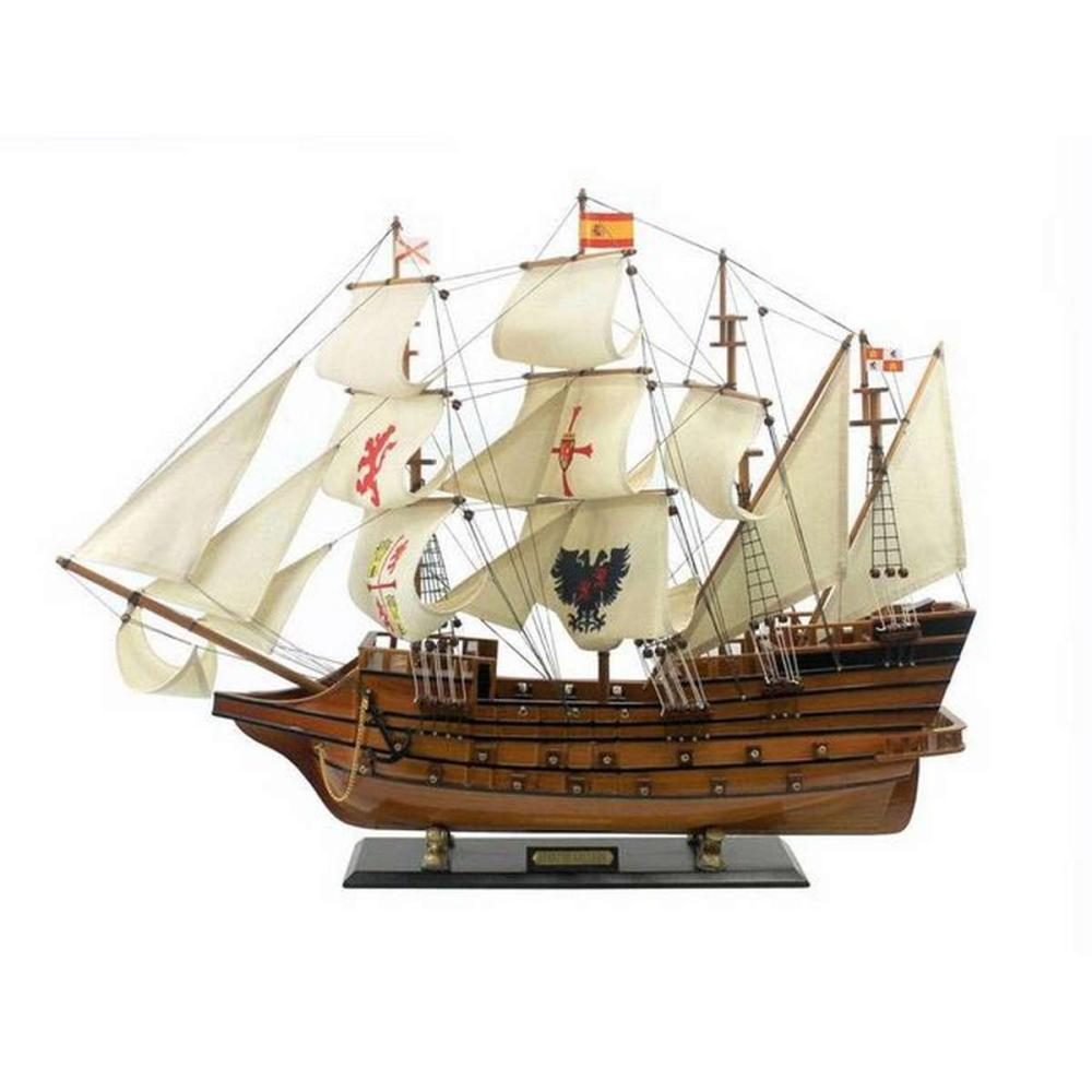 Wooden Spanish Galleon Tall Model Ship Limited 34in.