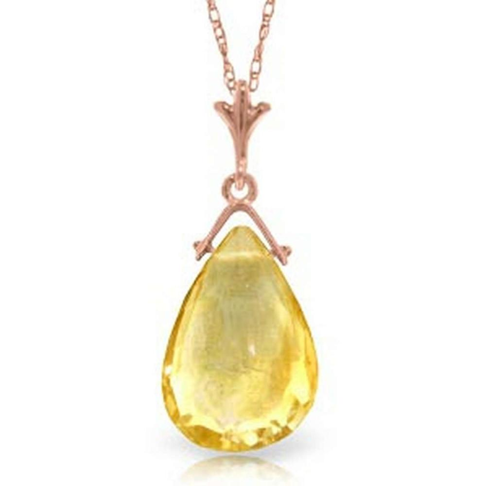 14K Solid Rose Gold Necklace with Briolette Citrine