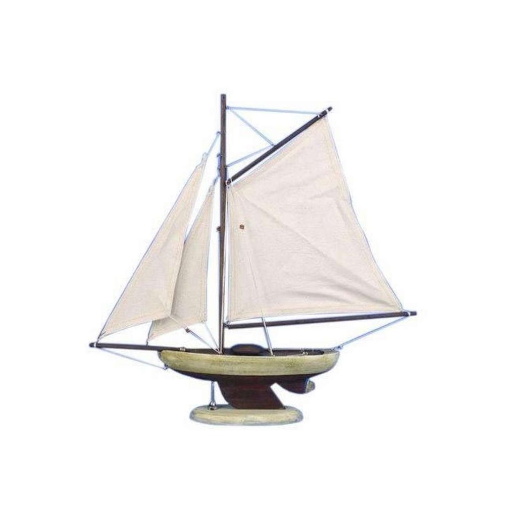 Wooden Rustic Bermuda Sloop Model Sailboat Decoration 17in.