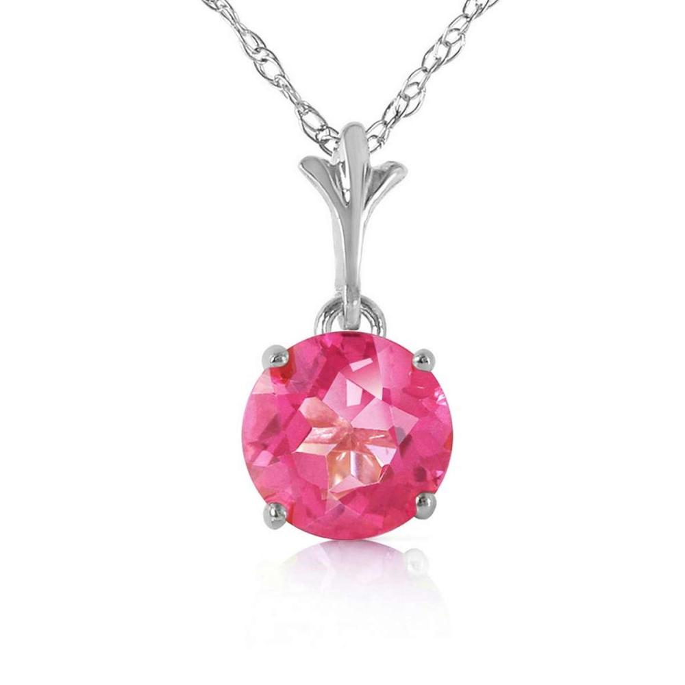 1.15 Carat 14K Solid White Gold Question Yourself Pink Topaz Necklace