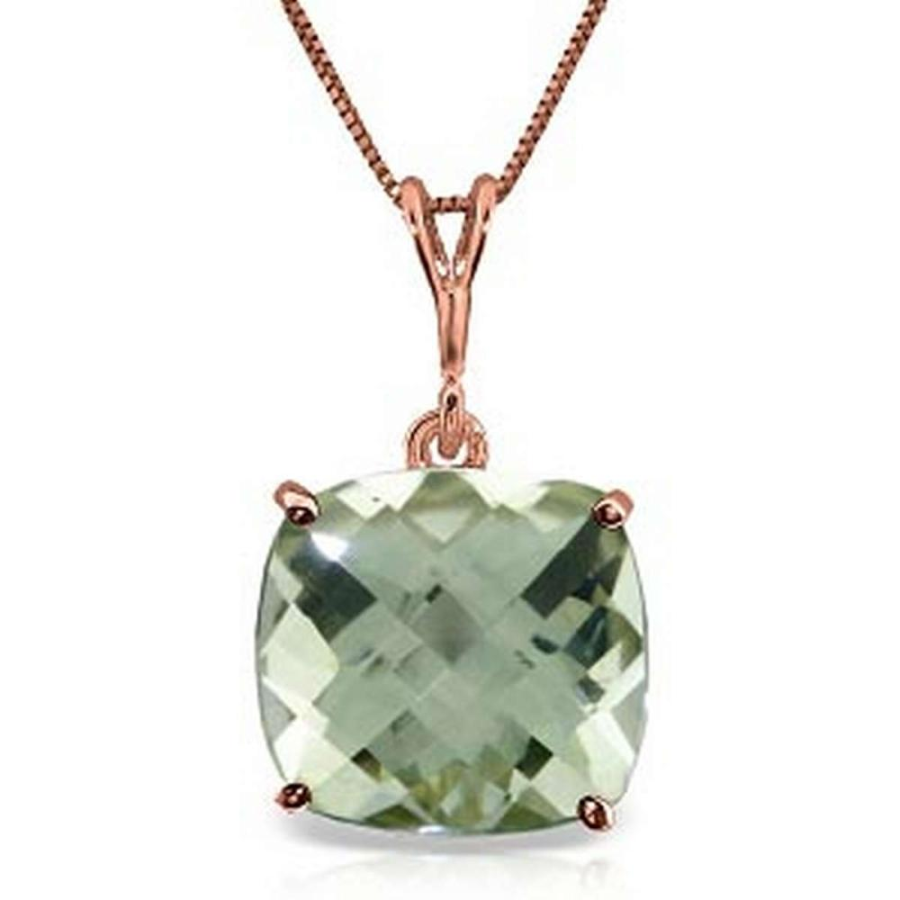 3.6 Carat 14K Solid Rose Gold Necklace Natural Checkerboard Cut Green Amethyst