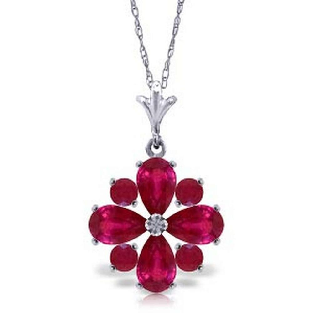 2.23 Carat 14K Solid White Gold Invincible Ruby Necklace