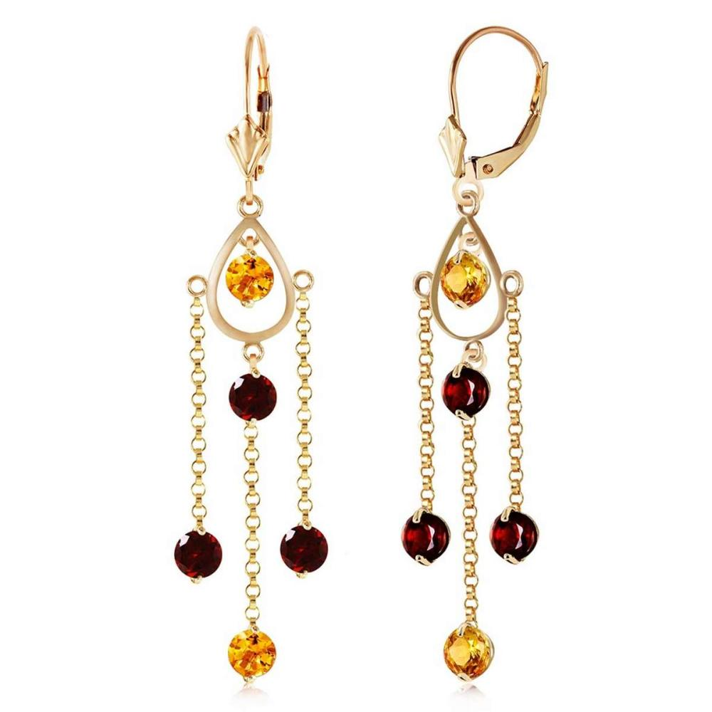 3 Carat 14K Solid Gold Gilded Age Citrine Garnet Earrings
