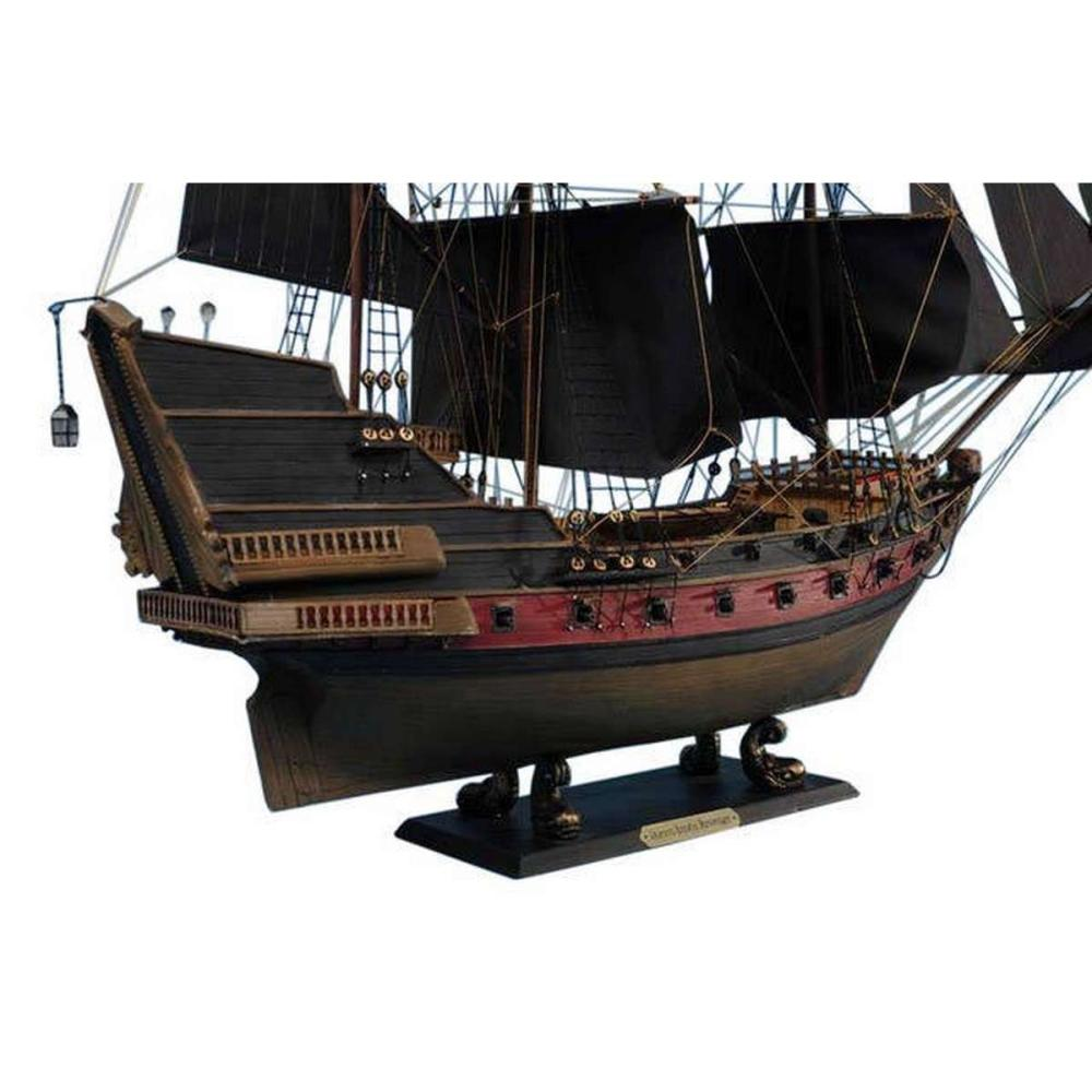 Wooden Black Barts Royal Fortune White Sails Limited Model Pirate Ship 26in.