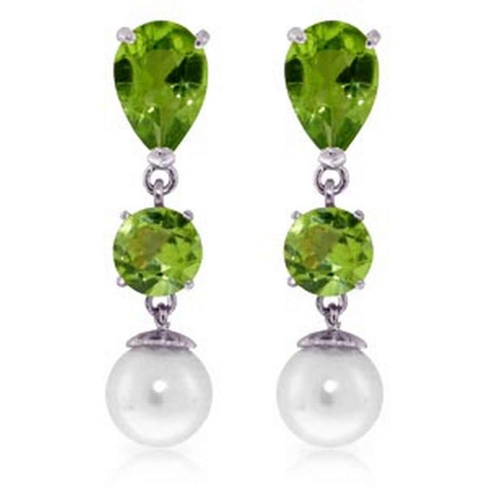 10.5 Carat 14K Solid White Gold Chandelier Earrings Peridot pearl