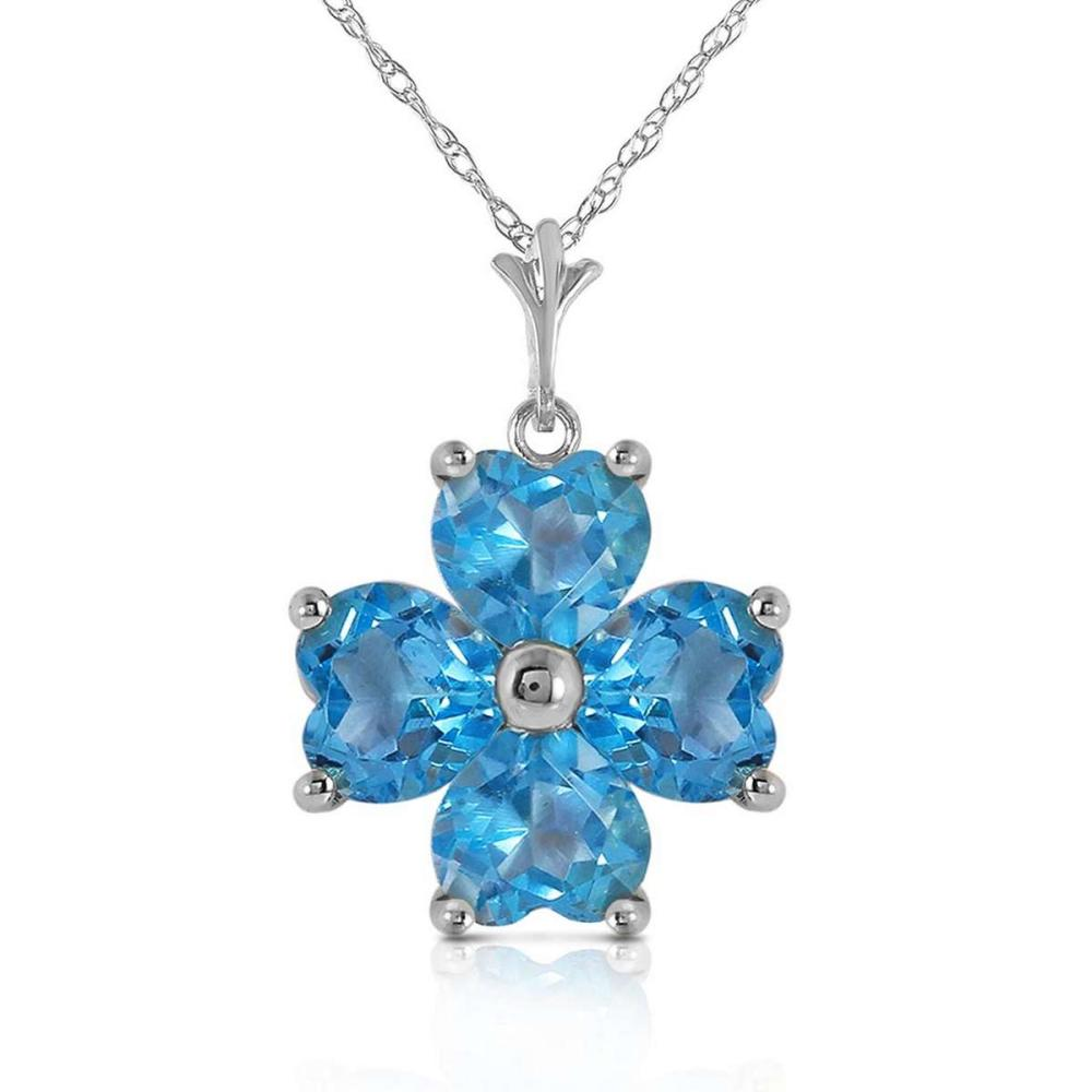 3.8 Carat 14K Solid White Gold Who Laughs Last Blue Topaz Necklace
