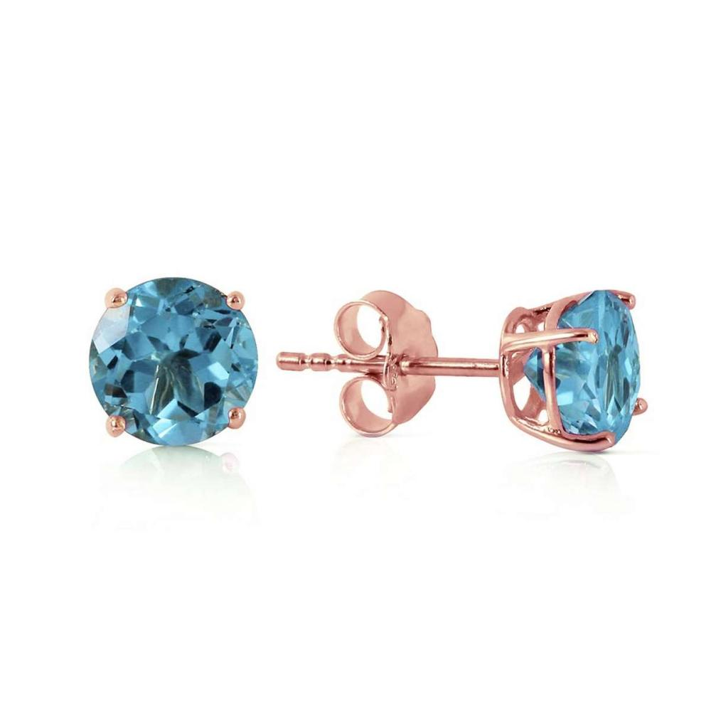 0.95 CTW 14K Solid Rose Gold Petite Blue Topaz Stud Earrings