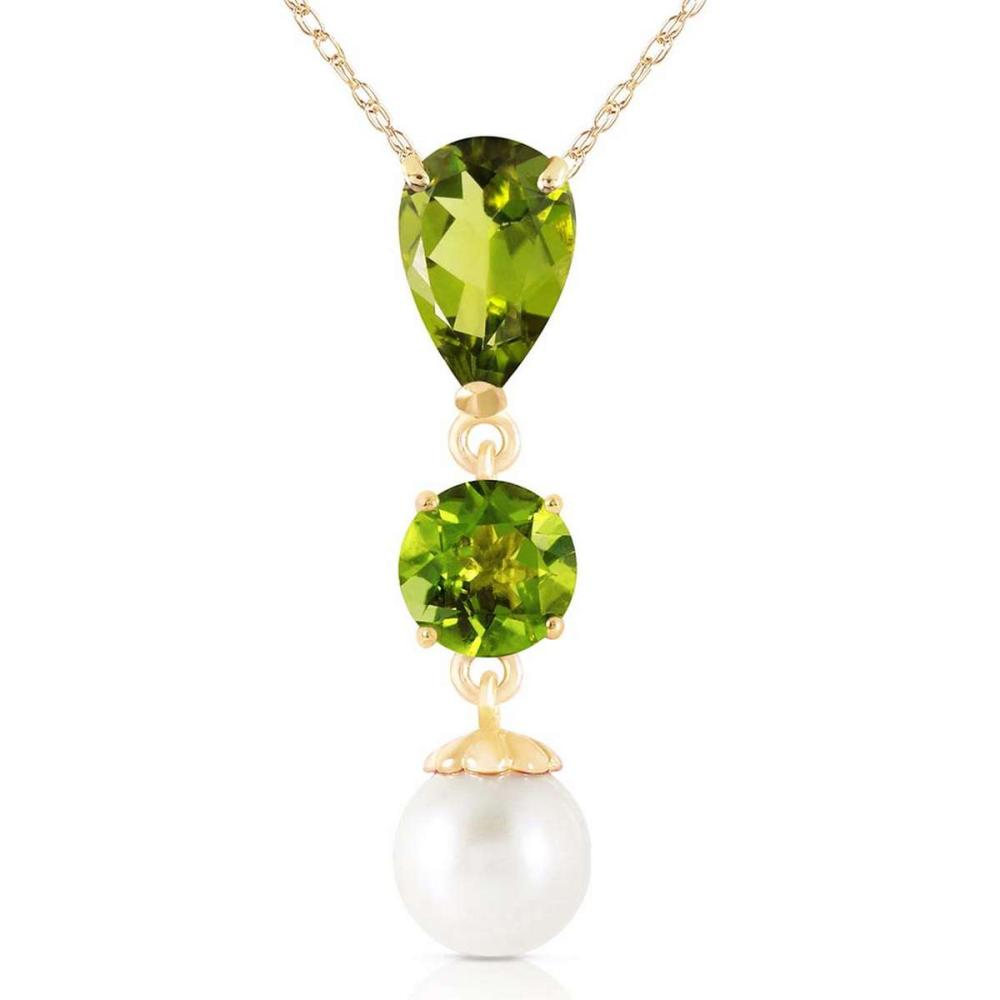 5.25 Carat 14K Solid Gold Flaming Heart Peridot pearl Necklace