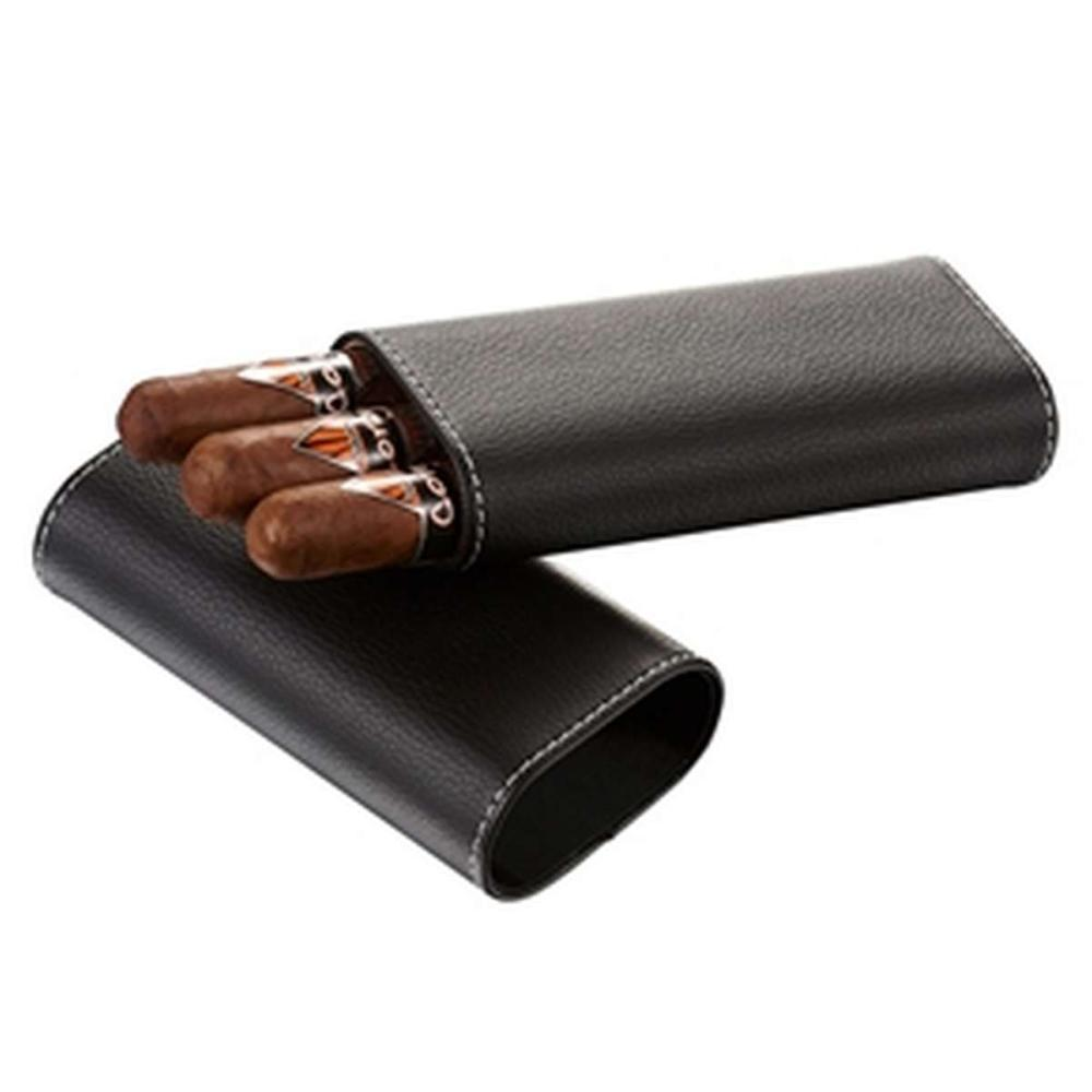 Eclipse Black Leather Cigar Case