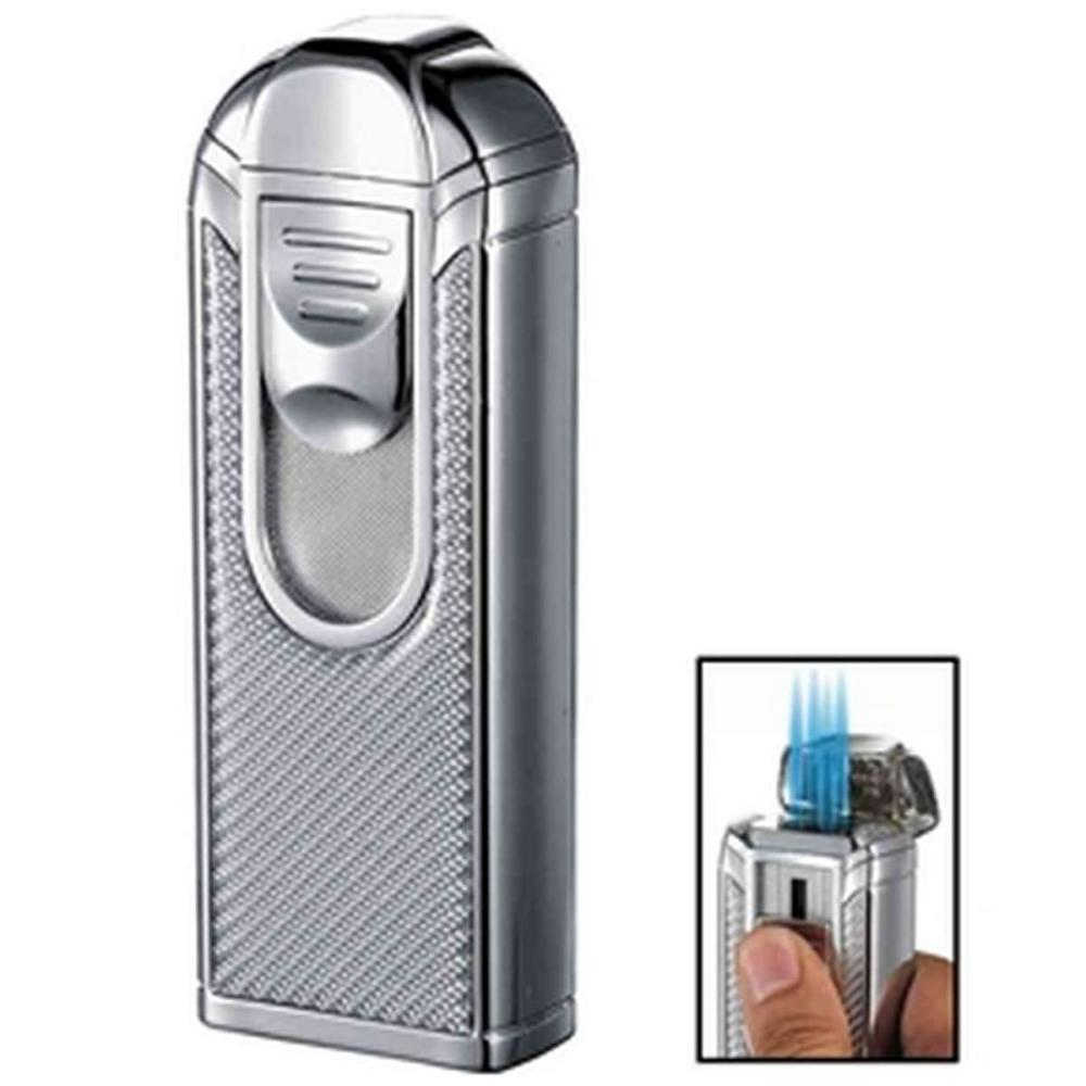 Alec IV Chrome and White Carbon Fiber Quad Torch Flame Table Lighter