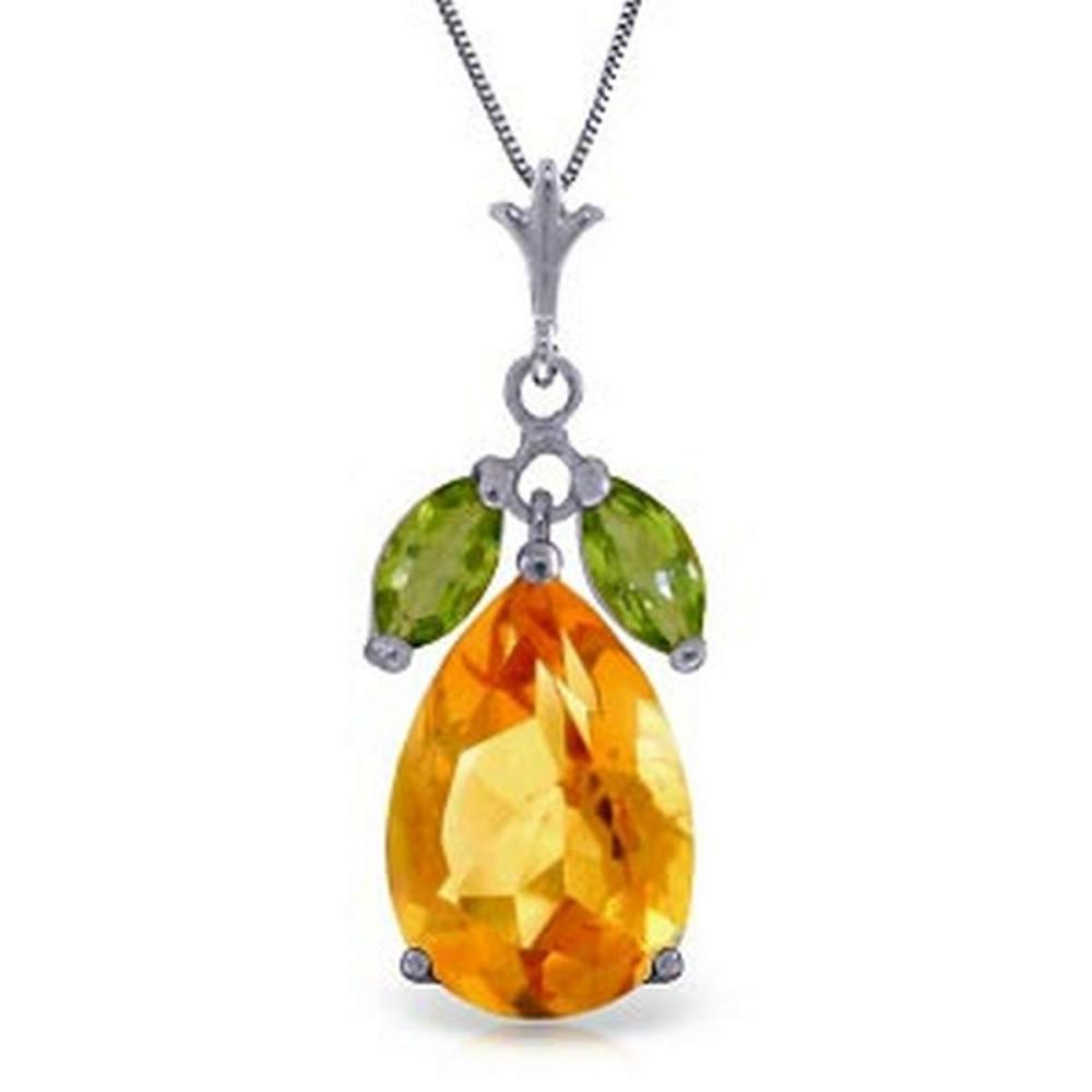 6.5 Carat 14K Solid White Gold Necklace Citrine Peridot