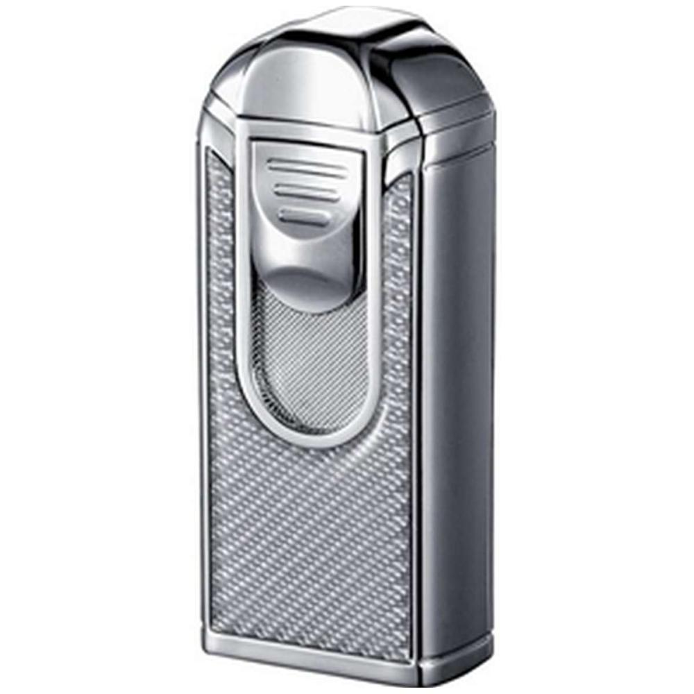Alec III Chrome and White Carbon Fiber Triple Torch Flame Lighter