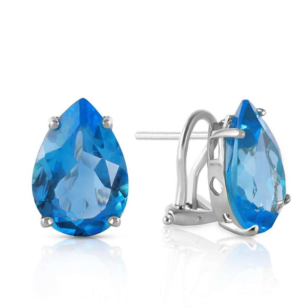 10 Carat 14K Solid White Gold Modern Drama Blue Topaz Earrings
