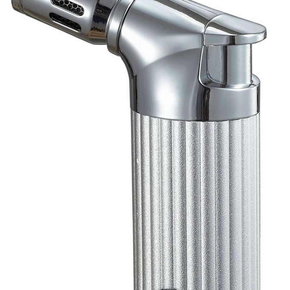 Cato II Quad Flame Table Lighter - Silver Matte