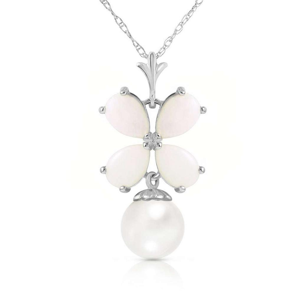 3 CTW 14K Solid White Gold Kralice Opal pearl Necklace