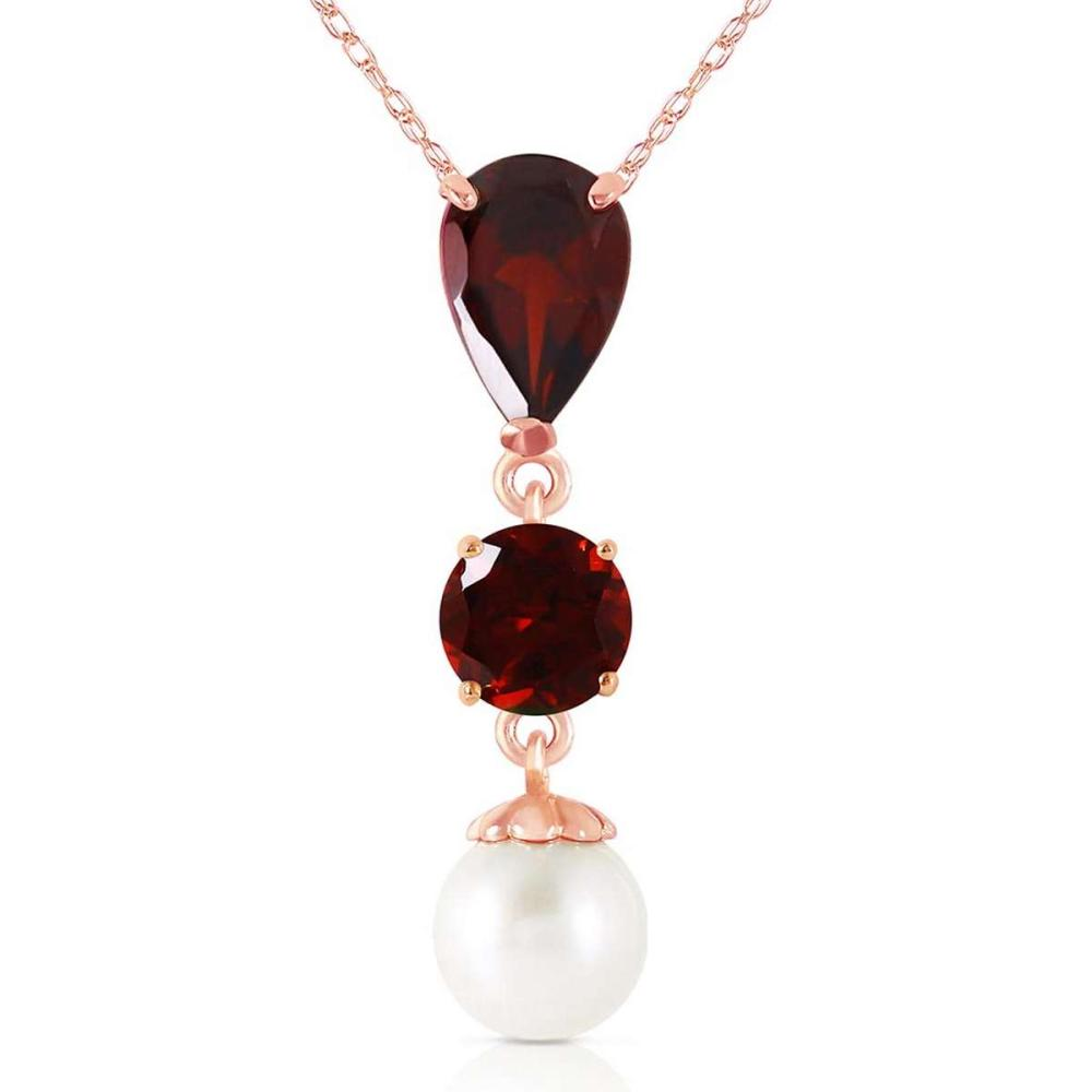 5.25 Carat 14K Solid Rose Gold Necklace Garnet pearl