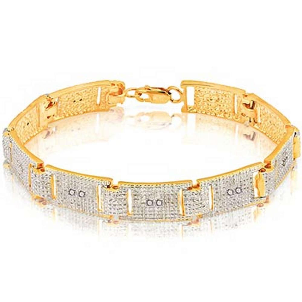 14K Yellow Gold Plated 0.081 Carat Genuine White Diamond .925 Sterling Silver Bracelet
