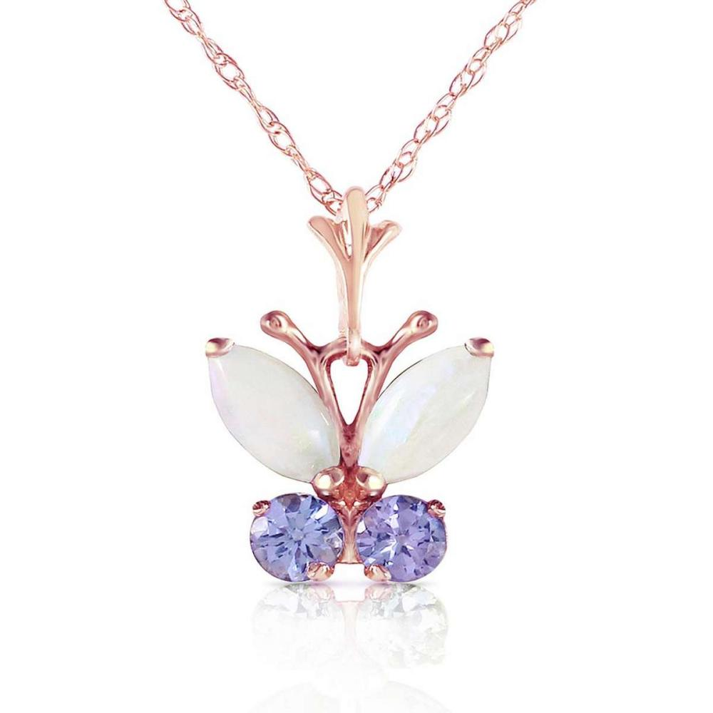 0.7 Carat 14K Solid Rose Gold Butterfly Necklace Opal Tanzanite
