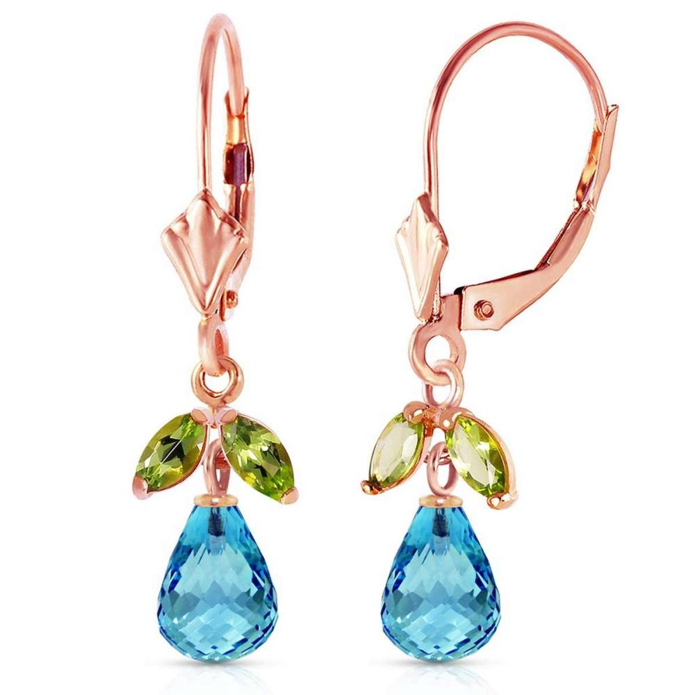 3.4 Carat 14K Solid Rose Gold Leverback Earrings Blue Topaz Peridot