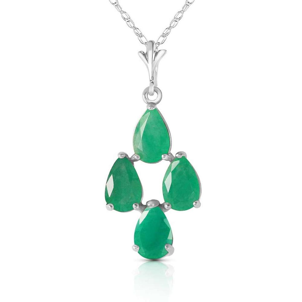 1.5 CTW 14K Solid White Gold Magnanimity Emerald Necklace