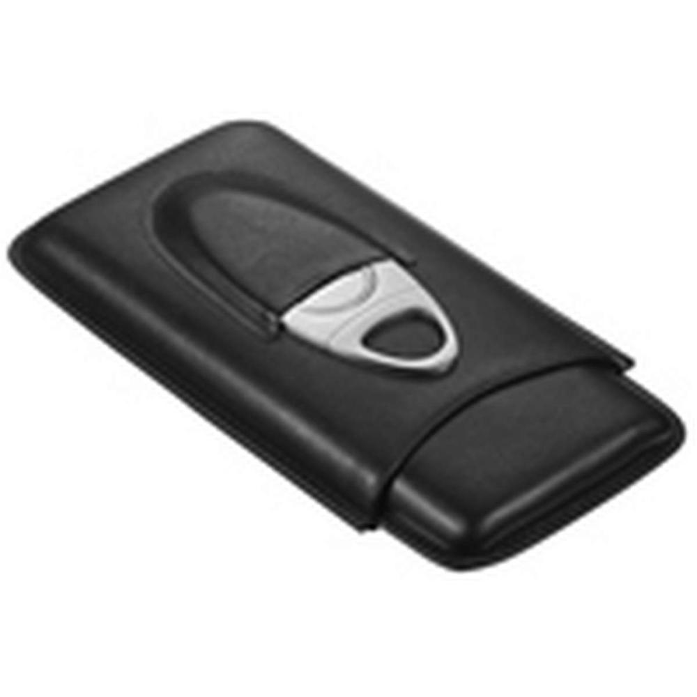 Legend Black Genuine Leather Cigar Case with Cutter