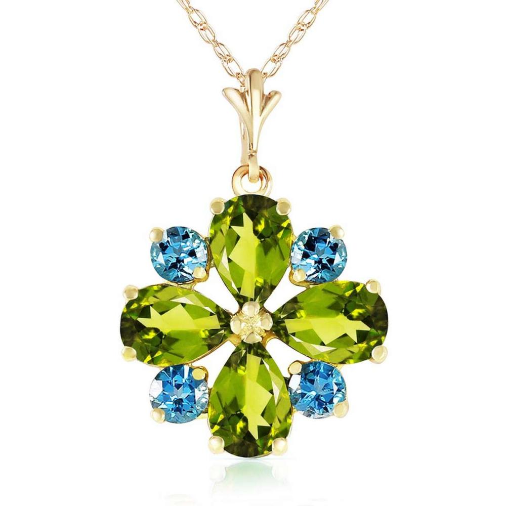 2.43 CTW 14K Solid Gold Necklace Peridot Blue Topaz