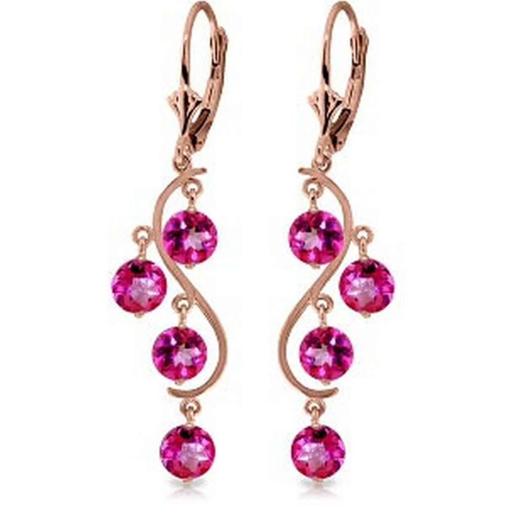 4.95 Carat 14K Solid Rose Gold Chandelier Earrings Natural Pink Topaz