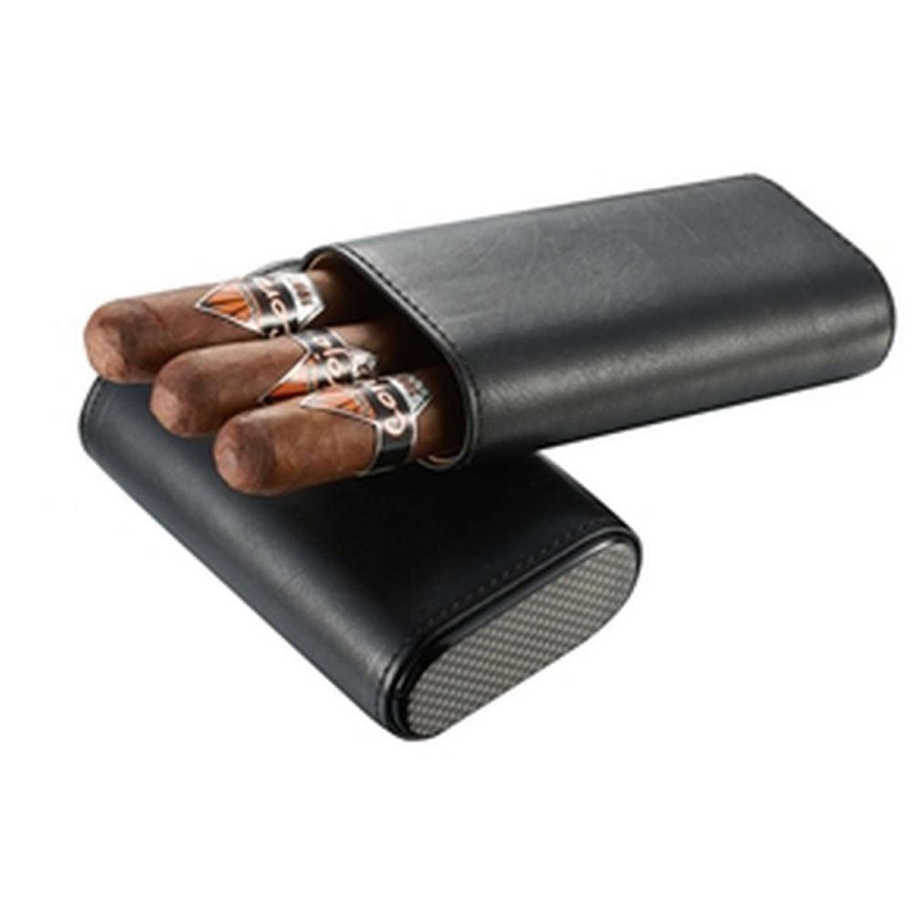 Burgos Black Leather Cigar case - Holds 3 Cigars