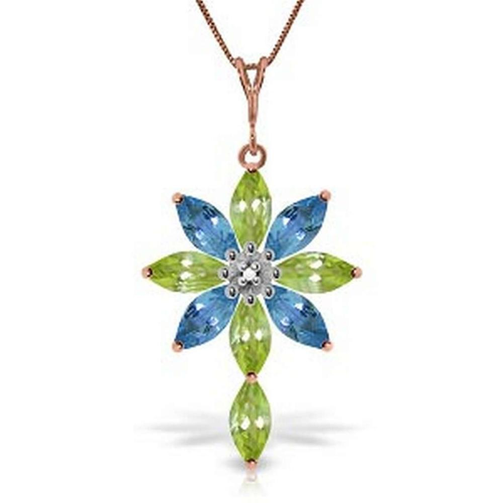 14K Solid Rose Gold Necklace withDiamond Peridot & Blue Topaz