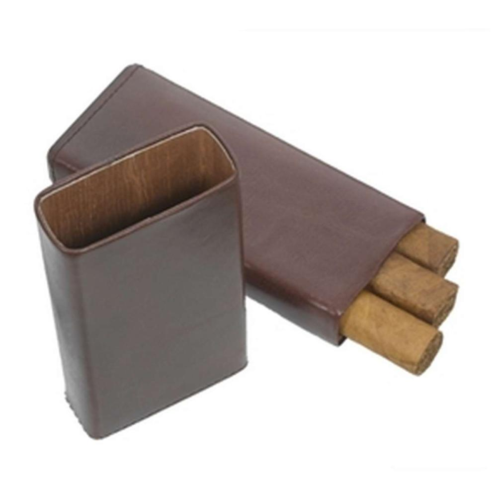 Maurya Genuine Brown Leather 3 Finger Cigar Case