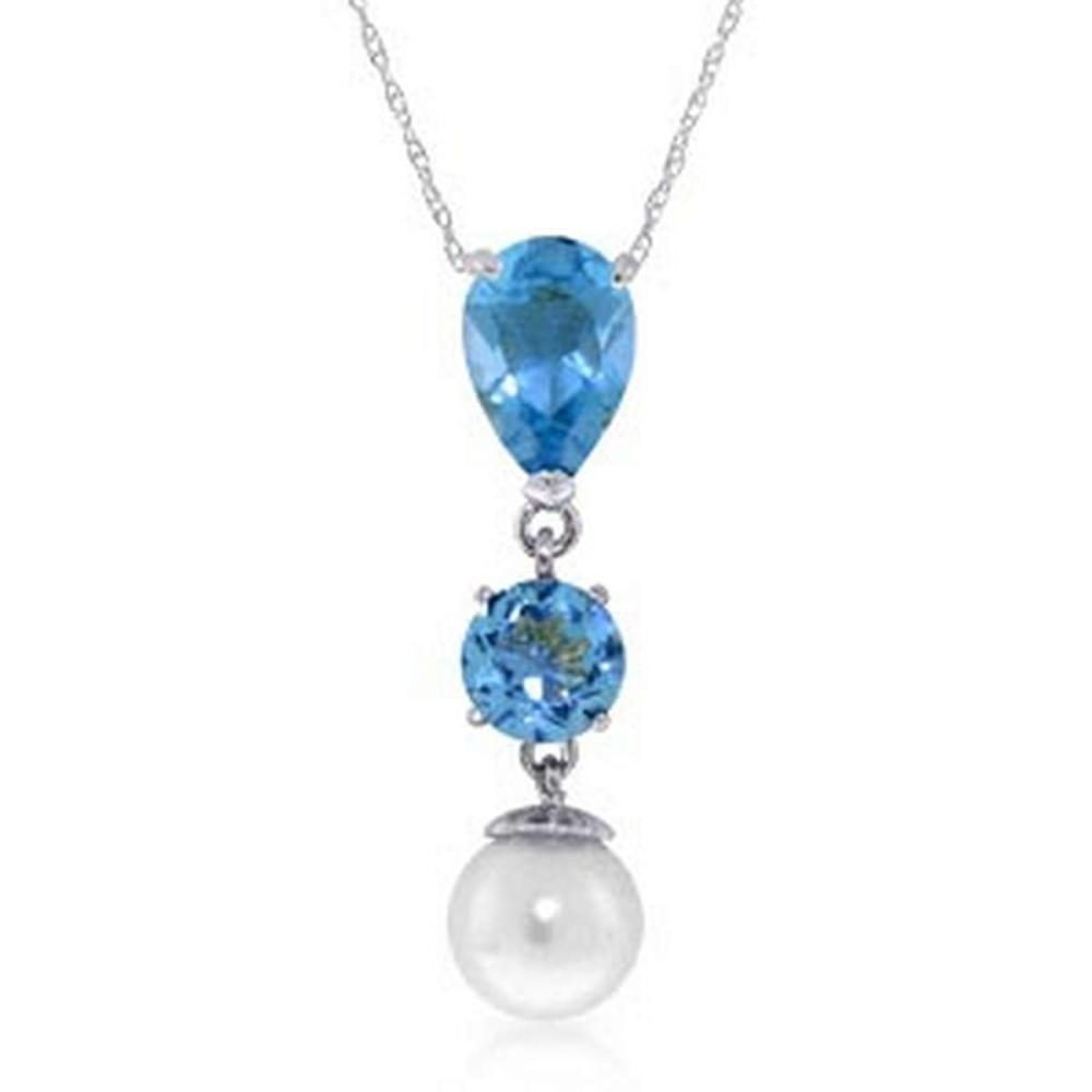 5.25 Carat 14K Solid White Gold Piece Of Heaven Blue Topaz pearl Necklace