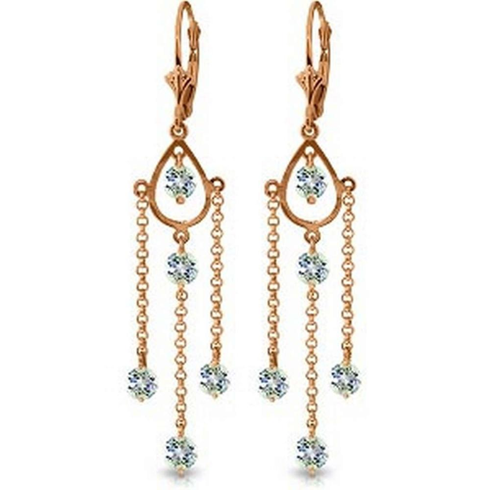14K Solid Rose Gold Chandelier Earrings with Natural Aquamarines