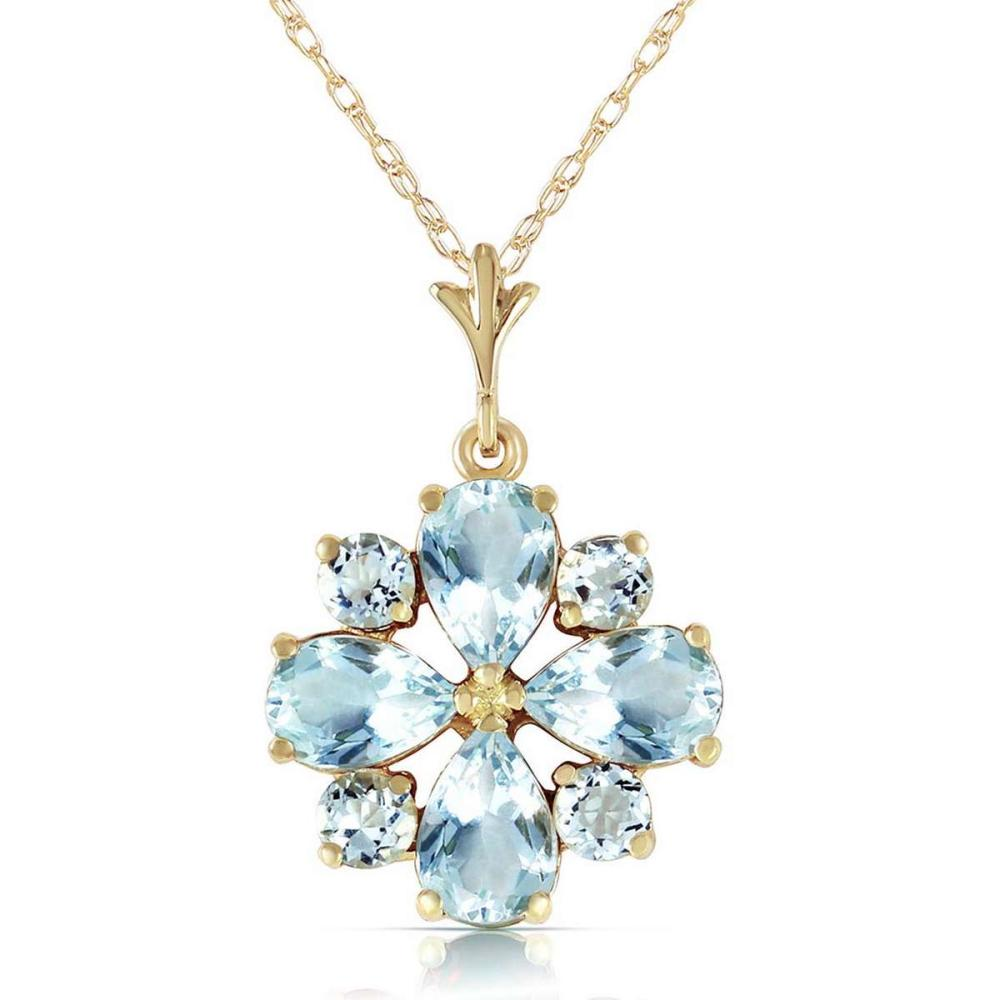 2.43 Carat 14K Solid Gold Cool Chic Aquamarine Necklace