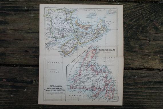 Lot 1020 Authentic Vintage1888 Nova Scotia Newfoundland Map 78076v2