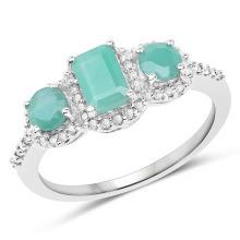 1.21 Carat Genuine Emerald and White Diamond 10K White Gold Ring