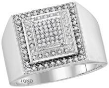 10kt White Gold Mens Round Diamond Square Frame Cluster Ring 1/3 Cttw