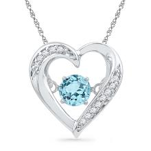 Sterling Silver Womens Round Lab-Created Blue Topaz Moving Twinkle Solitaire Heart Pendant 1/3 Cttw