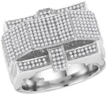10kt White Gold Mens Round Diamond Rectangle Arched Cluster Ring 1.00 Cttw