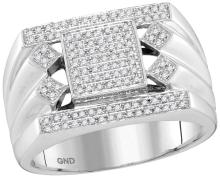10kt White Gold Mens Round Diamond Square Center Cluster Ring 3/8 Cttw