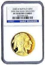 Certified Proof Buffalo Gold Coin 2008-W PF70 Ultra Cameo Early Release