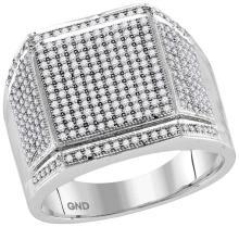 10kt White Gold Mens Round Diamond Edged Square Cluster Ring 7/8 Cttw