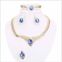 CREATED SAPPHIRE 18K GOLD PLATED GERMAN SILVER 4PCS SET