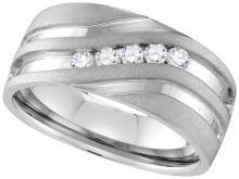 10kt White Gold Mens Round Channel-set Diamond Matte Wedding Band Ring 1/4 Cttw