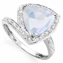 2.84 CARAT TW CREATED FIRE OPAL & GENUINE DIAMOND PLATINUM OVER 0.925 STERLING SILVER RING2.84