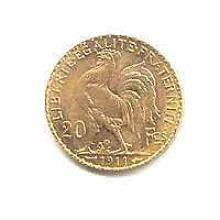French 20 Franc Rooster Gold Coin 1901-1914