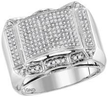 10kt White Gold Mens Round Diamond Symmetrical Domed Cluster Ring 5/8 Cttw